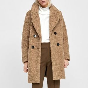 Zara Trendy Faux Shearling Textured Coat